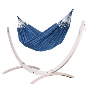 Kingsize Classic Hammock blue with Canoa wood stand white