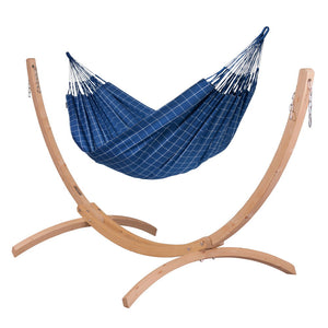 Kingsize Classic Hammock blue with Canoa wood stand caramel