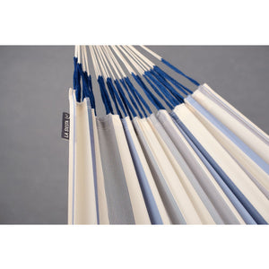 La Siesta Double Hammock light blue and white detail