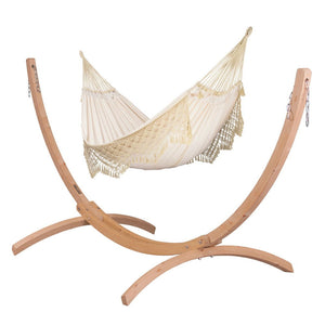 Kingsize Classic Hammock Champagne with Canoa wood stand