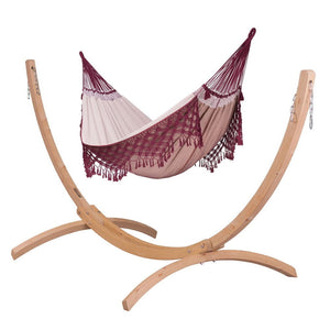 Kingsize Classic Hammock Bordeaux with Canoa wood stand