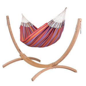 Double Hammock purple with Canoa wood stand