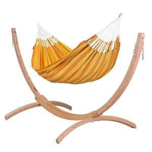 Double Hammock orange with Canoa wood stand