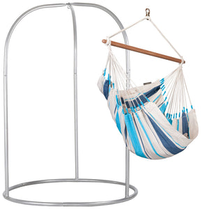 Hammock Chair white and blue with powder coated steel stand