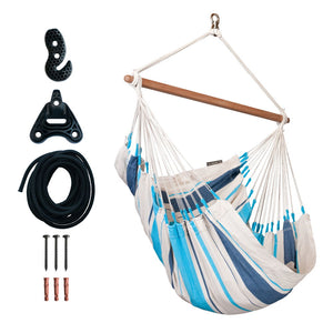 Hammock Chair white and blue with rope