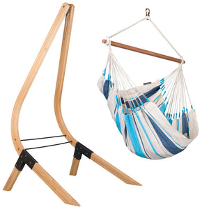 Hammock Chair white and blue with wood stand