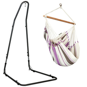 Hammock Chair purple and white with powder coated steel stand