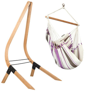 Hammock Chair purple and white with wood stand
