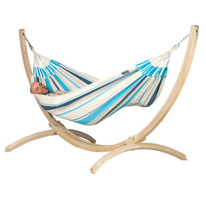 La Siesta Single Classic Hammock Blue with Canoa wood stand