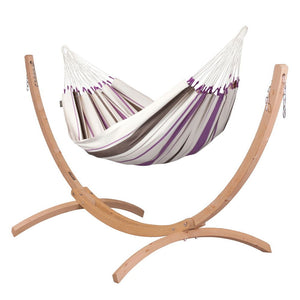 Single Classic Hammock purple with Canoa wood stand