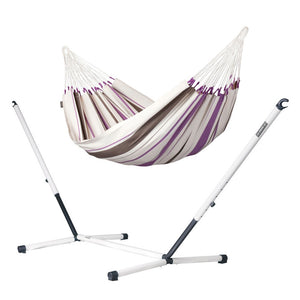 Single Classic Hammock purple with Nautico powder coated steel stand
