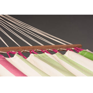 La Siesta Double Spreader bar Hammock light green and white detail