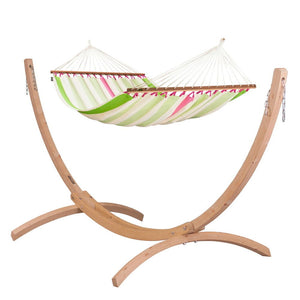Double Spreader Bar Hammock light green and white with Canoa wood stand