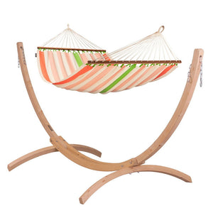 Double Spreader Bar Hammock orange and white with Canoa wood stand