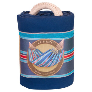 La Siesta Double Hammock blue and red packaging
