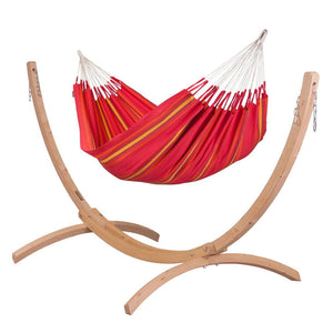 Double Hammock red with Canoa wood stand