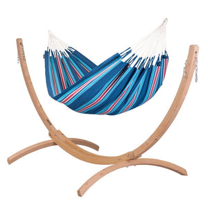 Double Hammock blue and red with Canoa wood stand