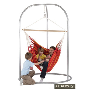 Lounger Hammock Chair red with Roman powder coated steel stand silver