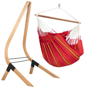 Lounger Hammock Chair red with Vela wood stand