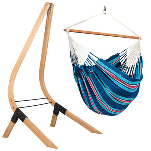 Lounger Hammock Chair blue and red with Vela wood stand