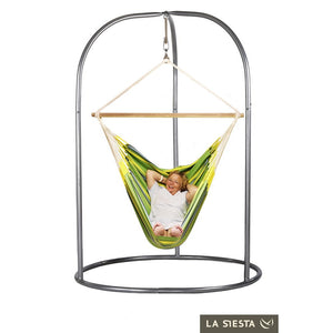 Lounger Hammock Chair green with Roman powder coated steel stand silver
