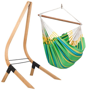 Lounger Hammock Chair green with Vela wood stand