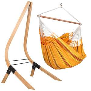 Lounger Hammock Chair orange with Vela wood stand