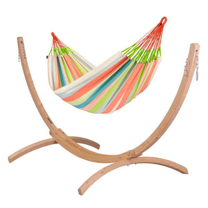Kingsize Classic Hammock coral with Canoa wood stand