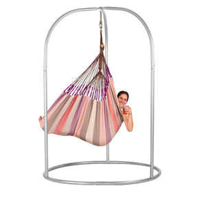 Lounger Hammock Chair purple and pink with Roman powder coated steel stand silver