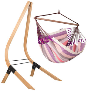 Lounger Hammock Chair purple and pink with Vela wood stand