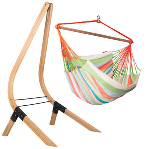 Lounger Hammock Chair Coral with Vela wood stand