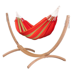 Kingsize Classic Hammock red with Canoa wood stand