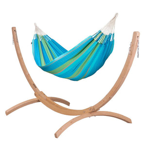 Kingsize Classic Hammock light blue with Canoa wood stand