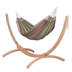Kingsize Classic Hammock brown with Canoa wood stand