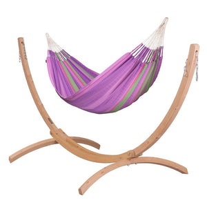 Kingsize Classic Hammock purple with Canoa wood stand