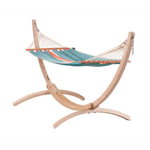 La Siesta Single Spreader Bar Hammock light blue with Canoa stand