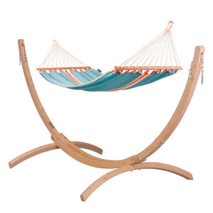 Single Spreader Bar Hammock light blue with Canoa wood stand
