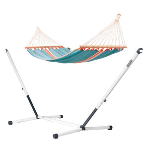 Single Spreader Bar Hammock light blue with Nautico powder coated steel stand cool grey
