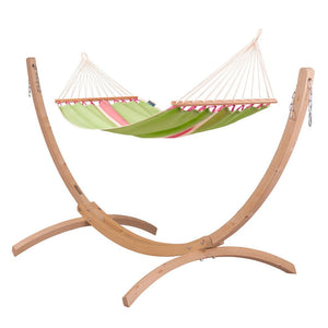 Single Spreader Bar Hammock green with Canoa wood stand