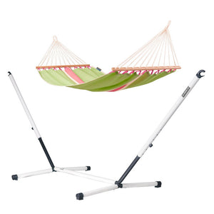 Single Spreader Bar Hammock green with Nautico powder coated steel stand cool grey