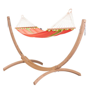 Single Spreader Bar Hammock orange with Canoa wood stand