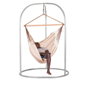 Lounger Hammock Chair nougat with Roman powder coated steel stand silver