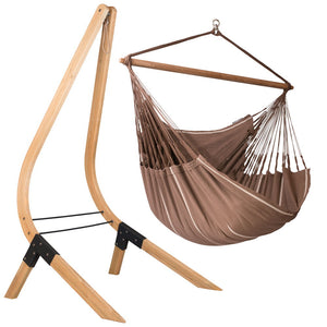 Lounger Hammock Chair brown with Vela wood stand