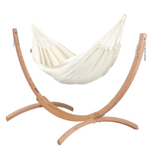 Single Classic Hammock white with Canoa wood stand
