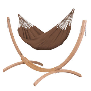 Single Classic Hammock brown with Canoa wood stand