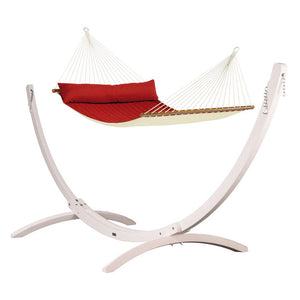 Kingsize Spreader Bar Hammock red with Canoa wood stand white