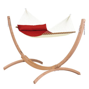 Kingsize Spreader Bar Hammock red with Canoa wood stand caramel