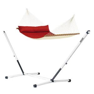 Kingsize Spreader Bar Hammock red with Nautico powder coated steel stand