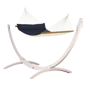 Kingsize Spreader Bar Hammock blue with Canoa wood stand white