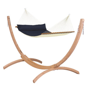 Kingsize Spreader Bar Hammock blue with Canoa wood stand caramel
